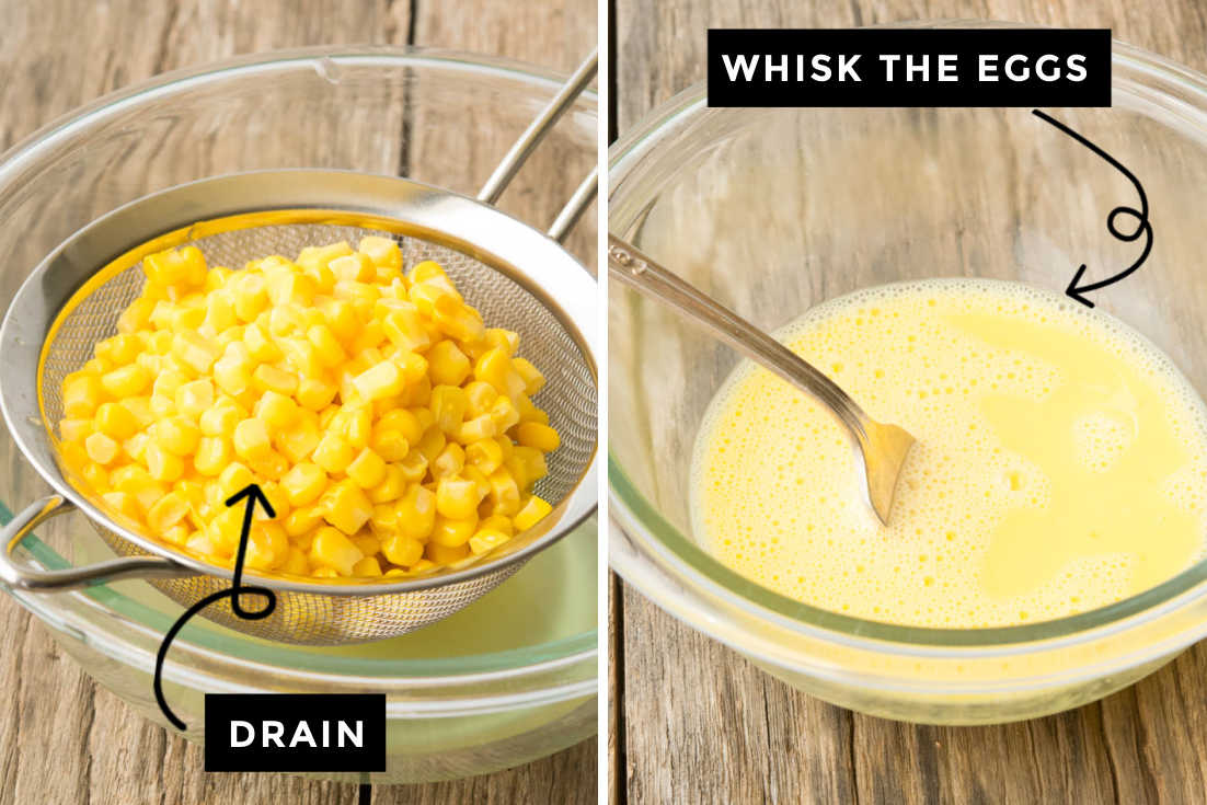 How to make Sweet Corn Casserole, draining the canned corn and whisking the eggs