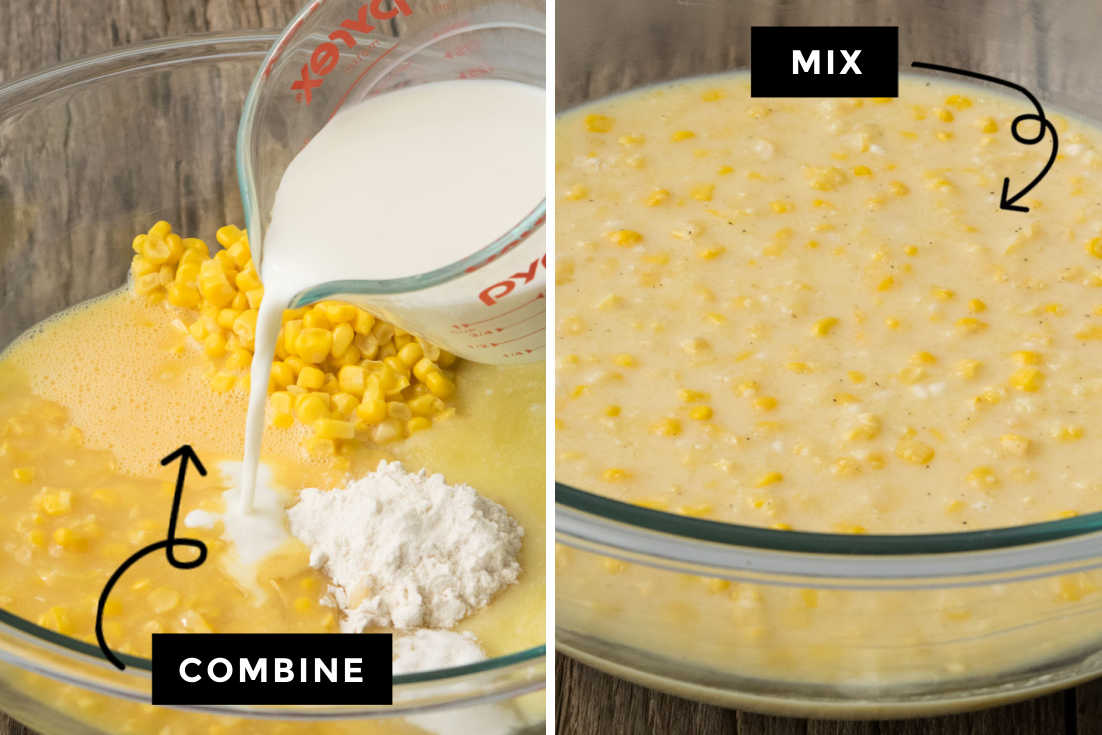 How to make Sweet Corn Casserole, combining all the ingredients and mixing it