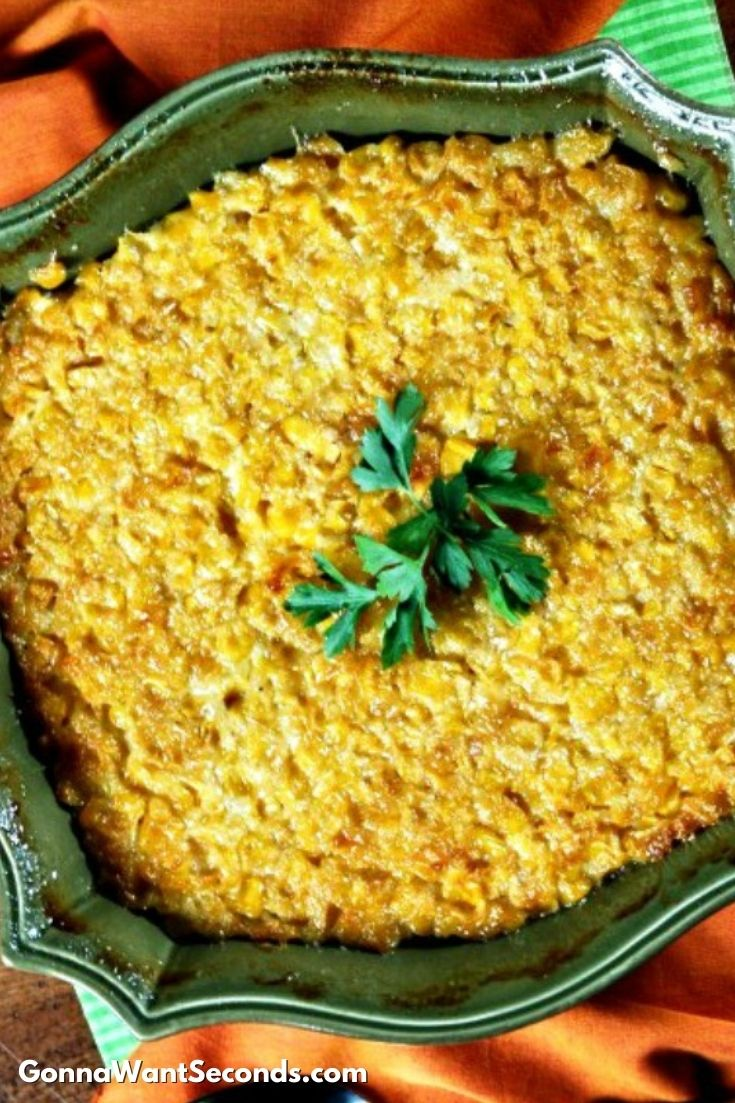 Sweet Corn Casserole in a green casserole dish