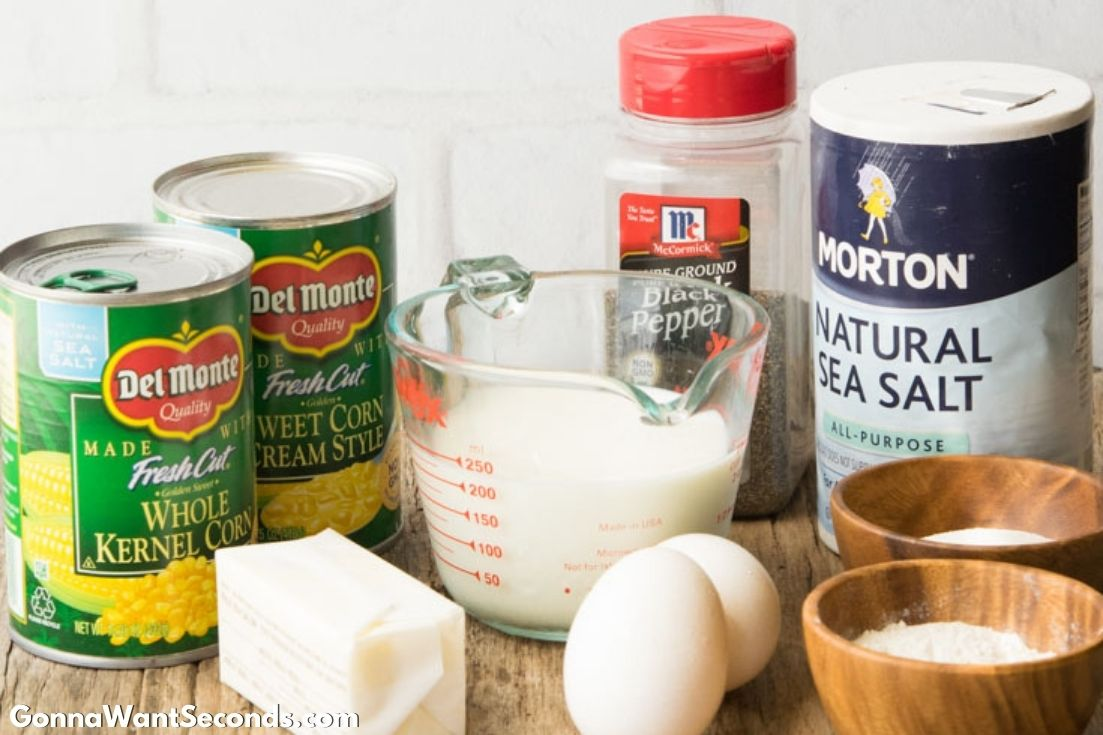 Prepared ingredients for Sweet Corn Casserole