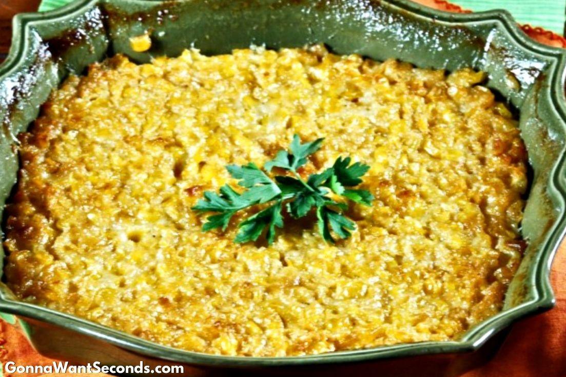 Sweet Corn Casserole in a green casserole dish