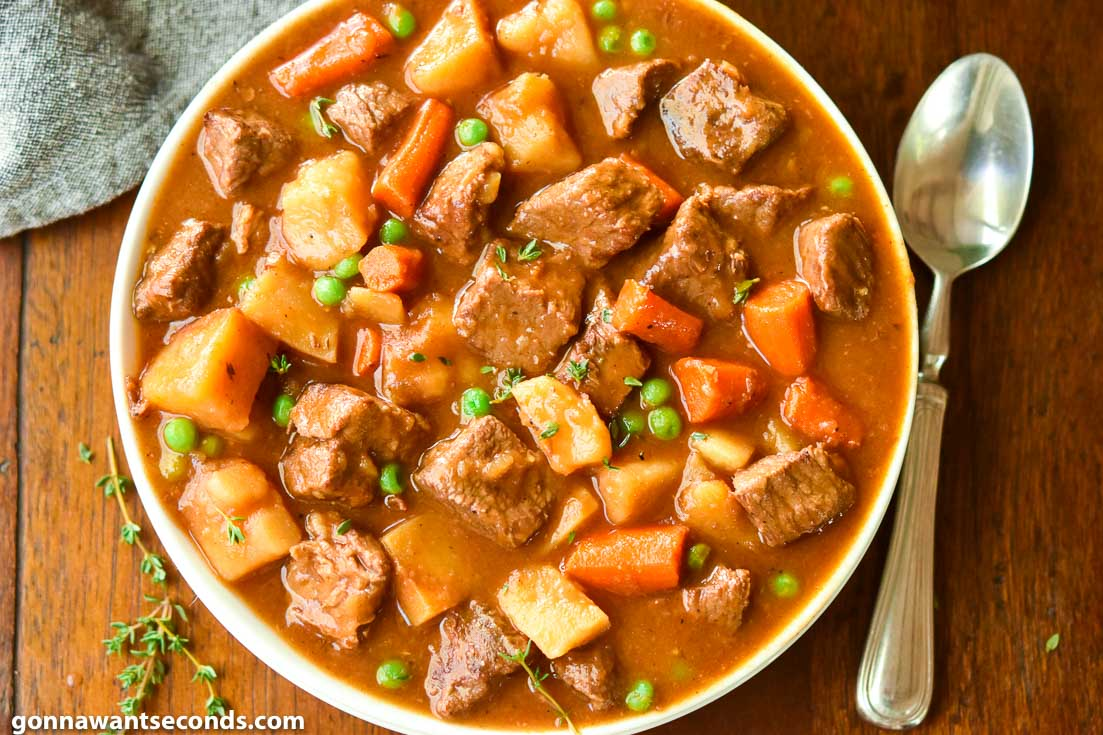 Beef stew recipe in a bowl, top shot