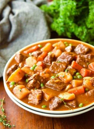 Beef stew recipe in a bowl