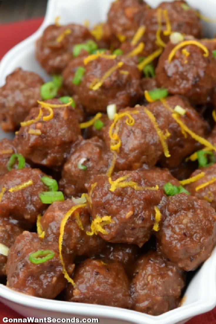 platter of cranberry meatballs