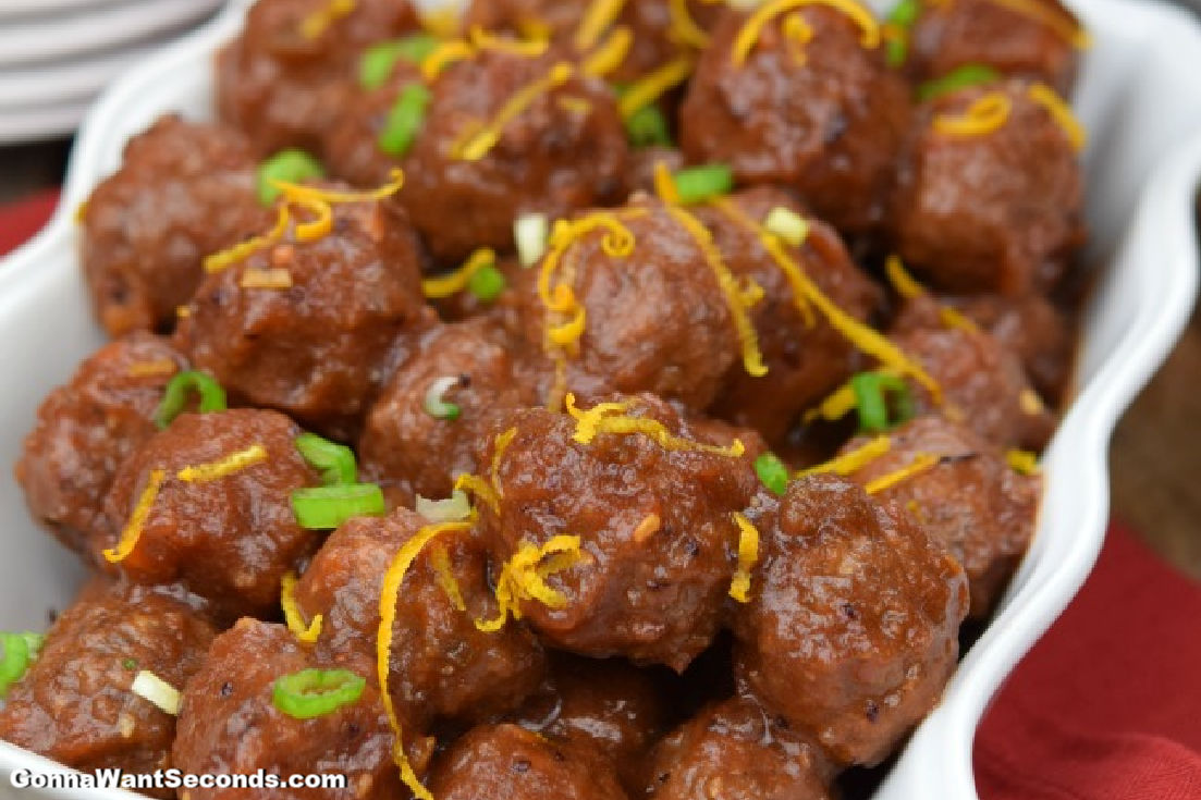 Cranberry Meatballs in a serving dish
