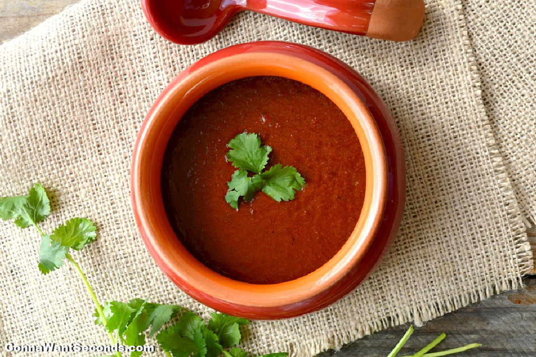 Enchilada Sauce in a red bowl