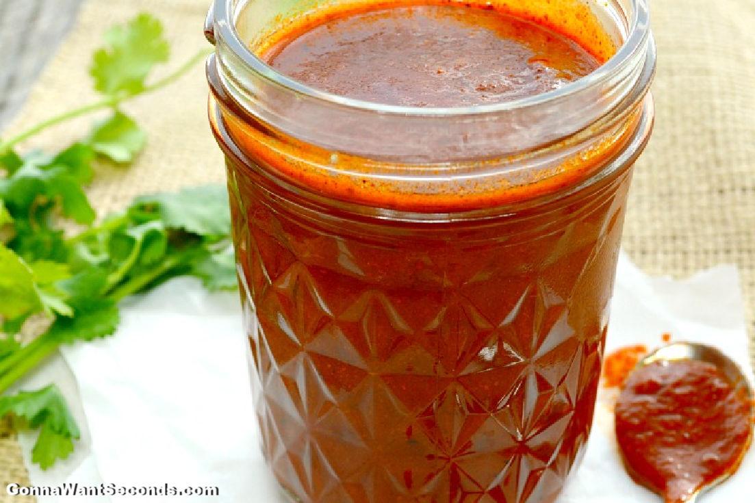 Enchilada Sauce in a mason jar
