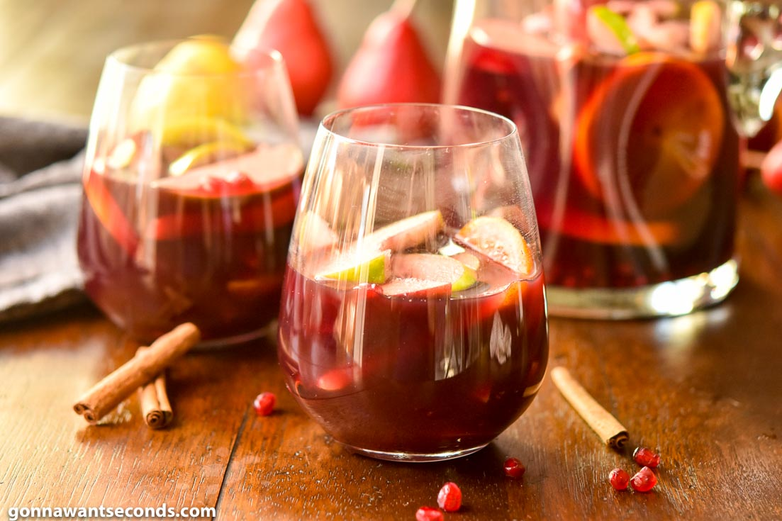 Two glasses of fall sangria