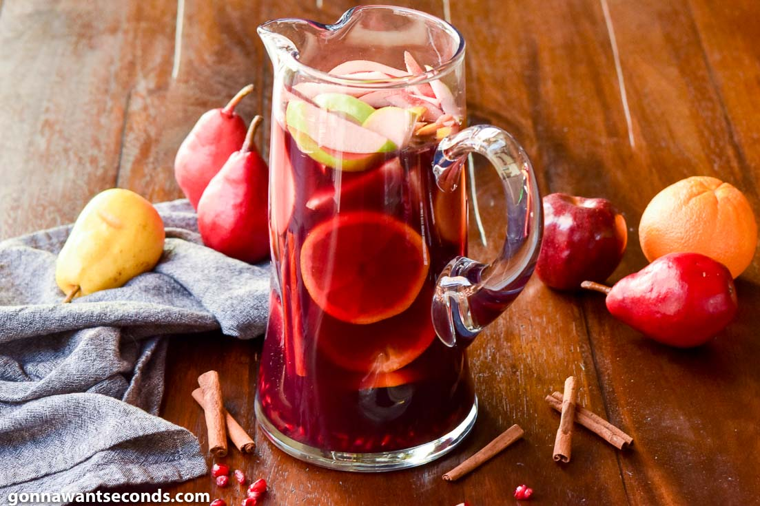 A pitcher of fall sangria