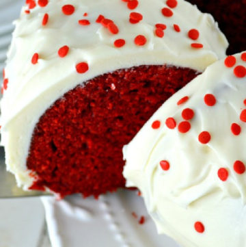 Slicing Red Velvet Bundt Cake