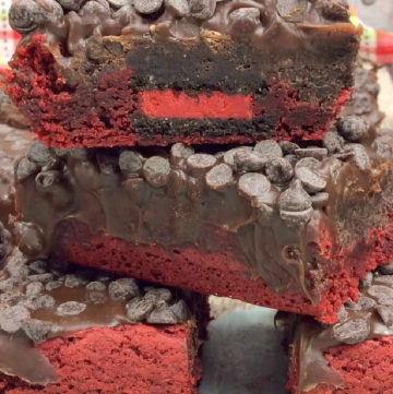 Red Velvet Oreo Brownies stack on top of each other