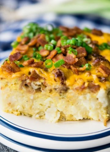 A slice of Tater Tot Breakfast Casserole on a plate