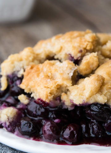 Blueberry Cobbler on a saucer