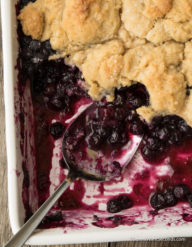 Spoon scooped some Blueberry Cobbler in a baking dish