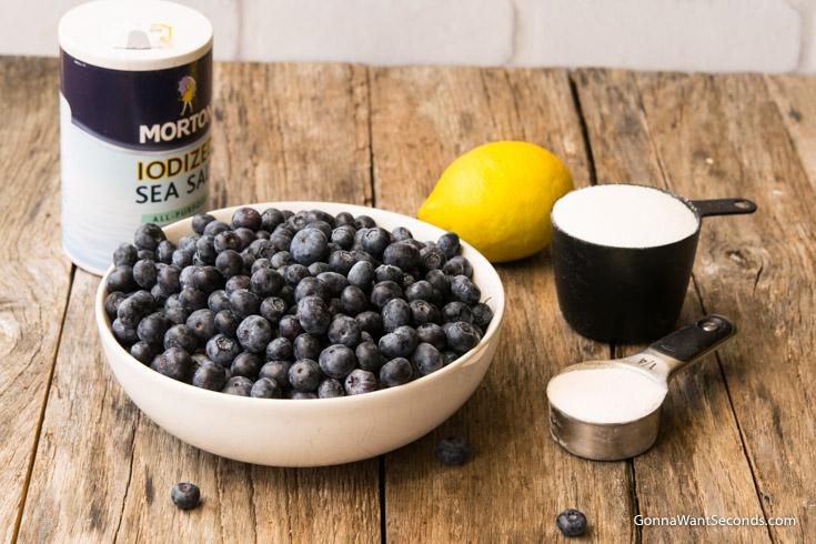 Prepared ingredients for Blueberry Cobbler filling