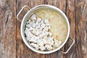 How to make Chicken Potato Soup, add chicken