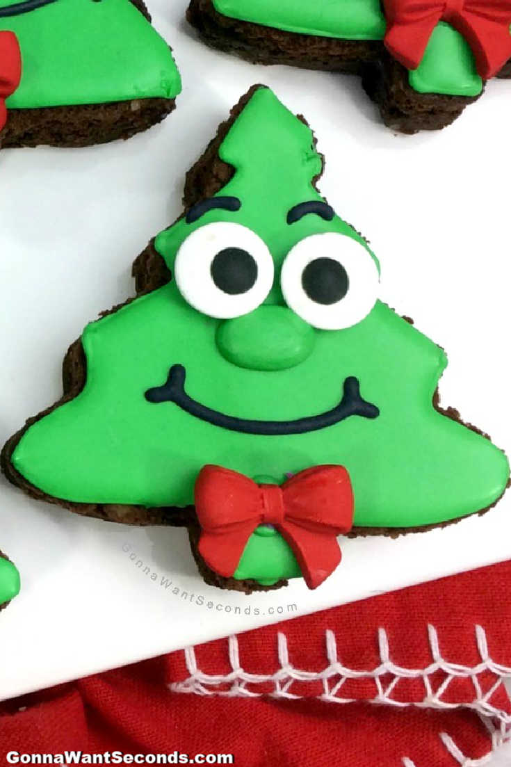 Christmas Tree Brownies on a plate