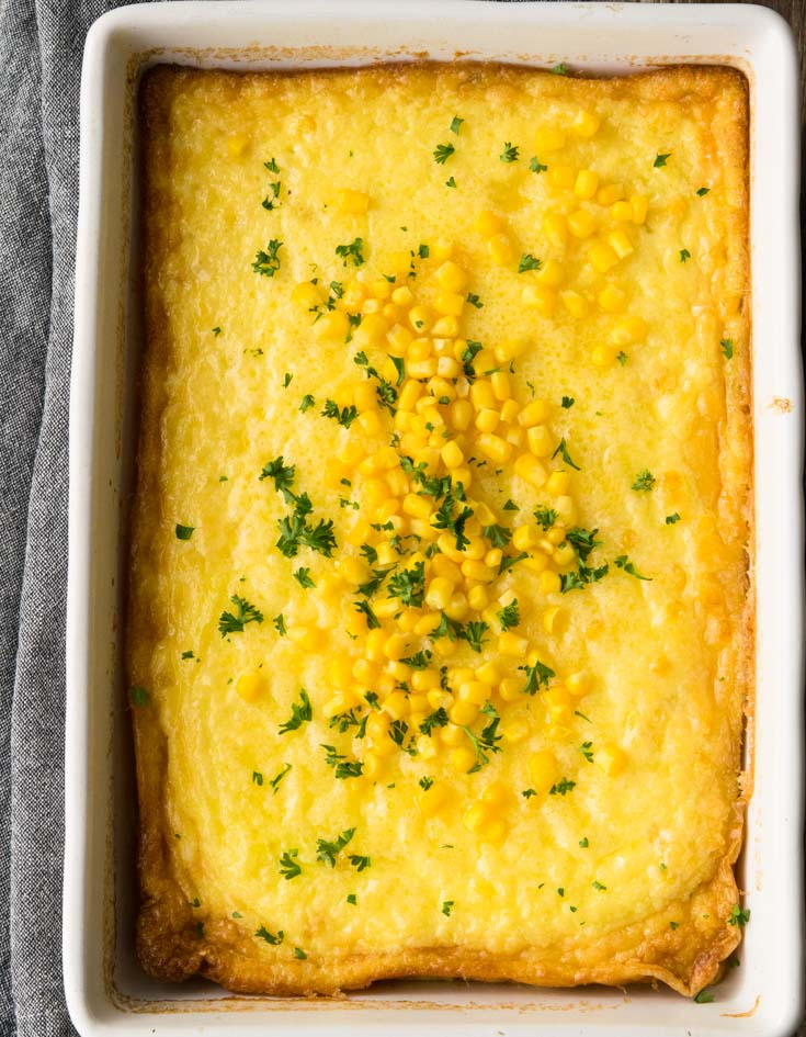 Corn Pudding in a rectangular casserole dish