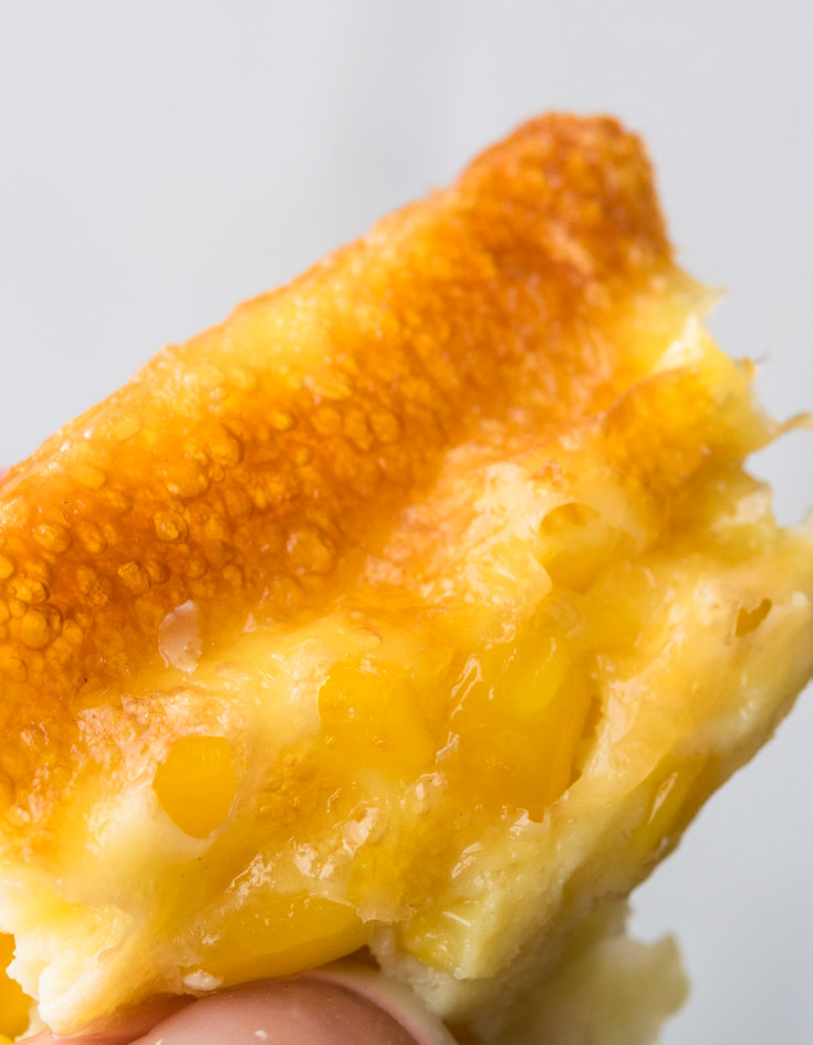 A close up of a Corn Pudding edge