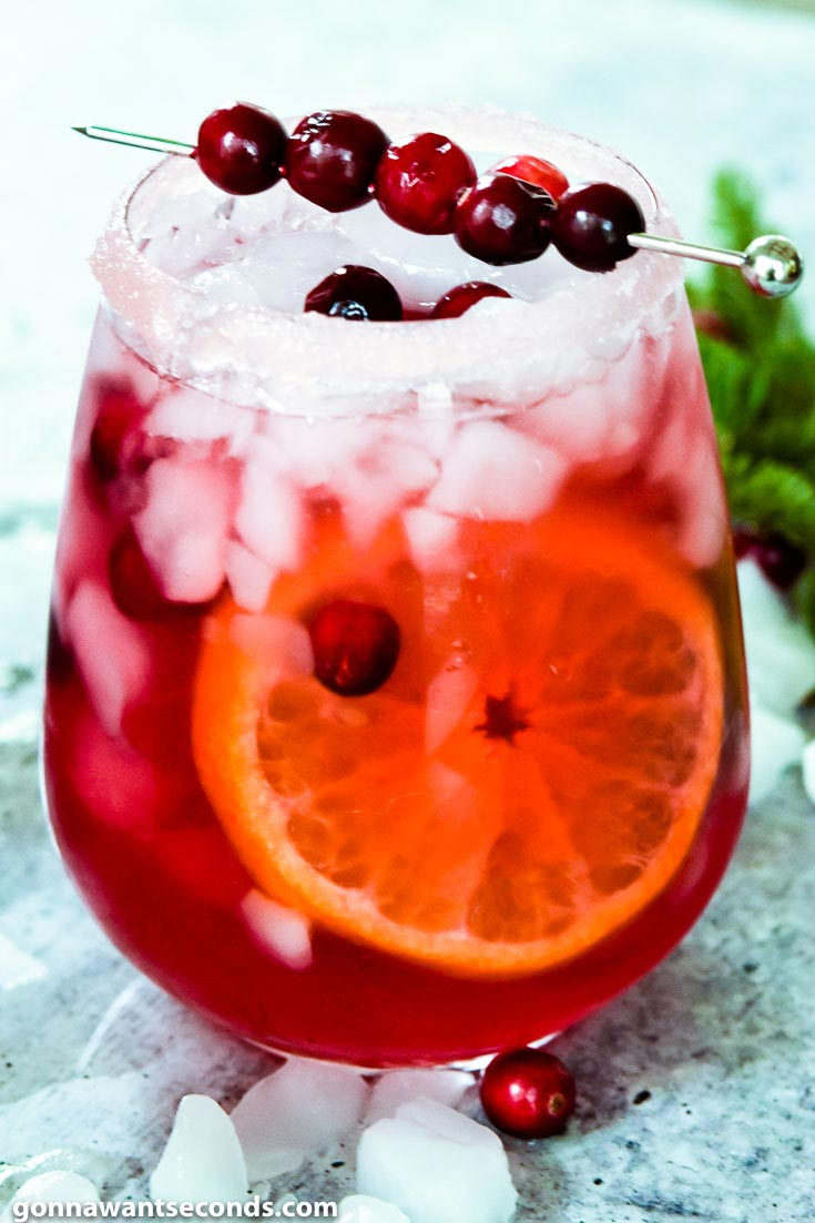 Cranberry Margarita with fresh cranberries on top