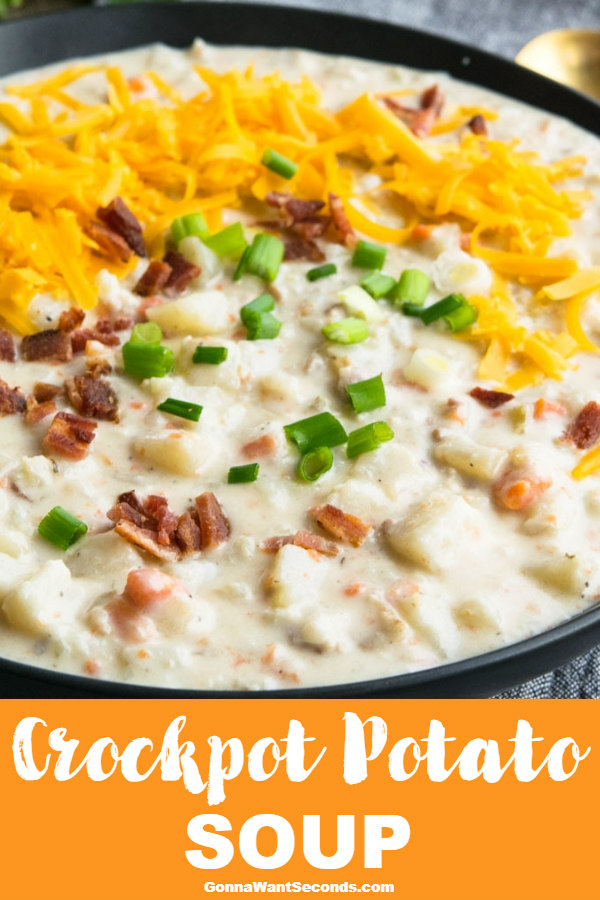 Crockpot Potato Soup is a flavorful fix it & forget it meal that's perfect for a cold winter's day! Velvety, thick, & creamy, it's a hearty family favorite! #gonnawantseconds #crockpot #crockpotrecipes #potatoes #potatosoup #potatorecipes #souprecipeseasy #easysoup #winterfood #fallrecipes #creamysoup #crockpotsoup