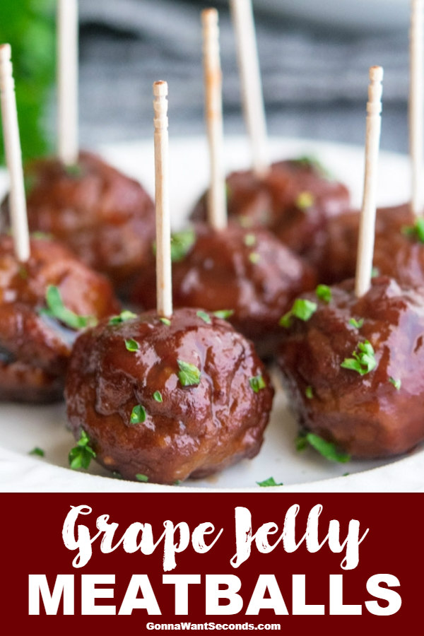 Sweet and hearty grape jelly meatballs make for a classic appetizer or main course! Full-bodied and spicy, these fellas are sure to please the crowd. #GrapeJelly #Meatballs