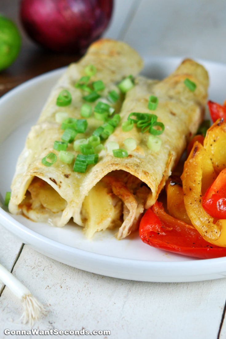 Honey Lime Chicken Enchiladas with roasted bell peppers on the side