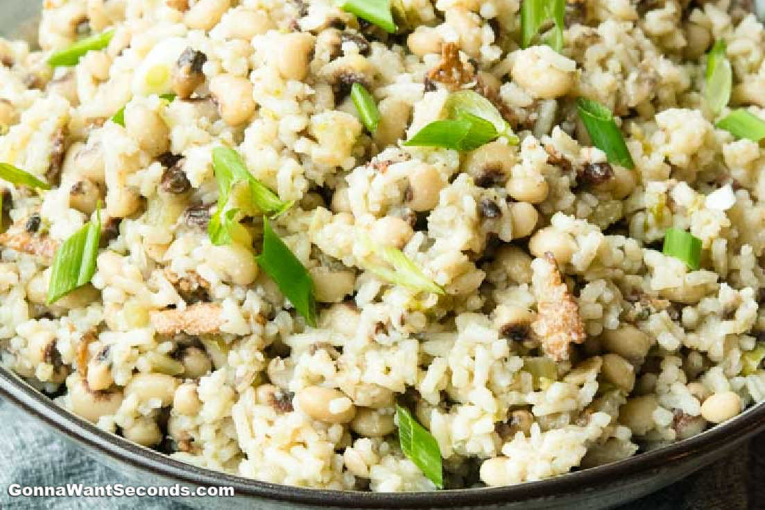 Hoppin John in a bowl, sprinkled with chopped green onions