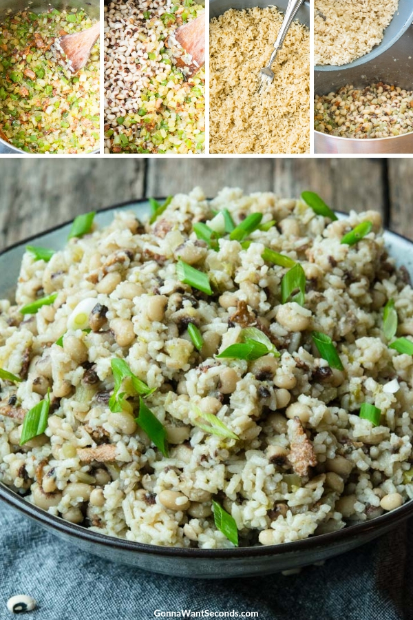Hoppin John Recipe in a bowl, sprinkled with chopped green onions