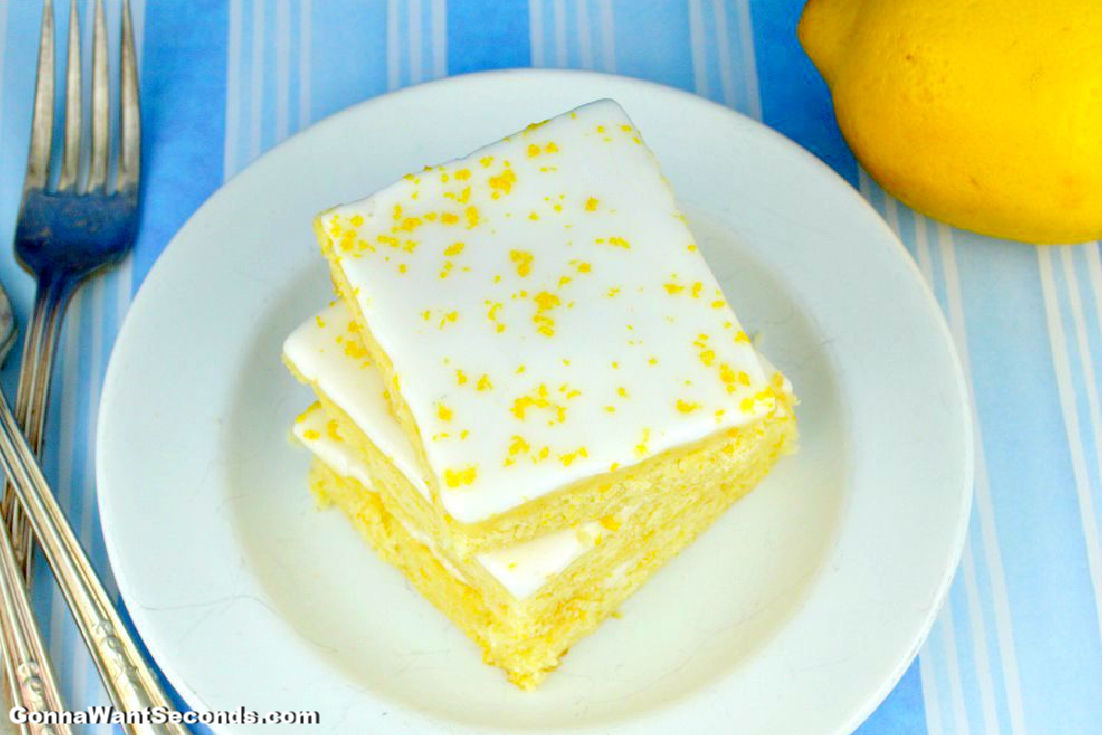 Lemon Brownies stack on top of each other, top shot
