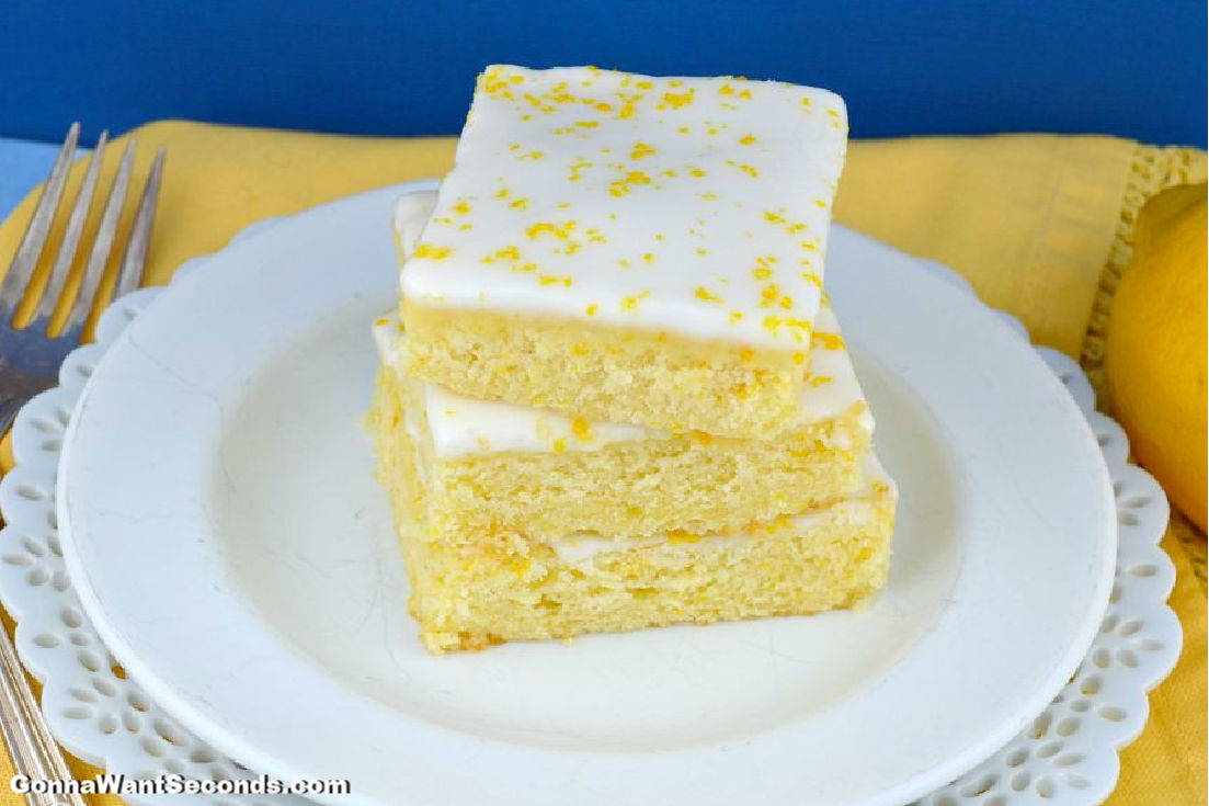 Lemon Brownies stack on top of each other