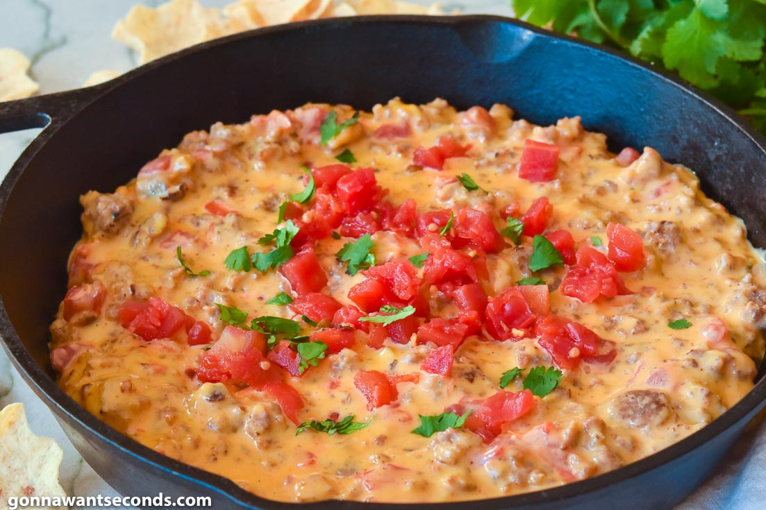 Rotel Dip in a cast iron skillet