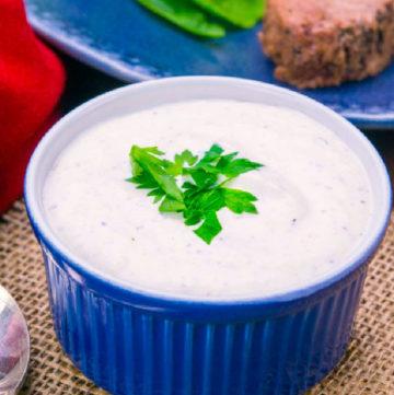 Horseradish Sauce in a blue bowl