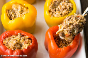 How to make Italian Stuffed Peppers, stuffing the bell pepper with the meat mixture
