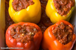 How to make Italian Stuffed Peppers, adding the sauce