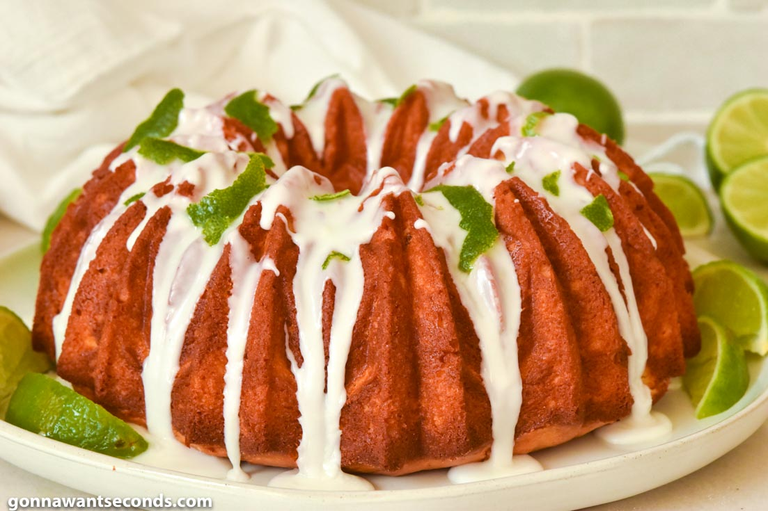 Margarita Cake with glaze and lime peel on top
