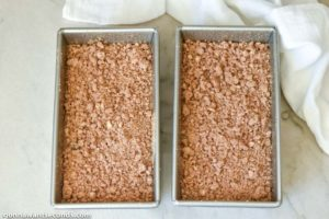 How to make Zucchini Bread, placing the batter in the loaf pans