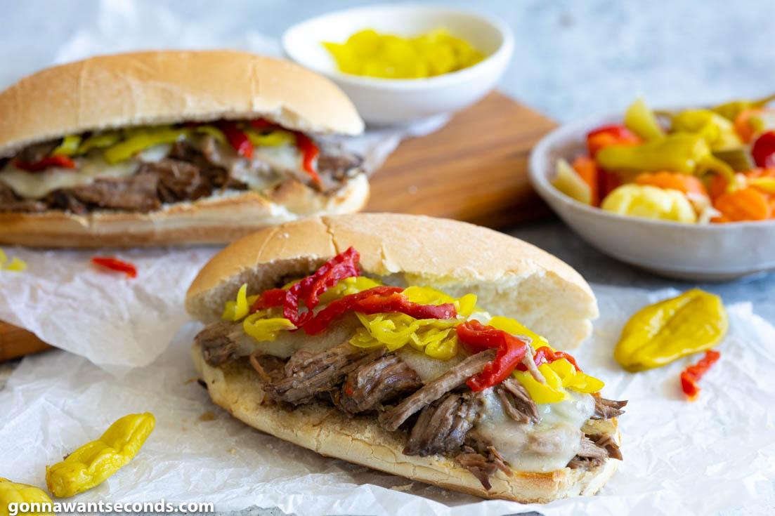 crockpot Italian beef sandwiches with extra Giardiniera on the side