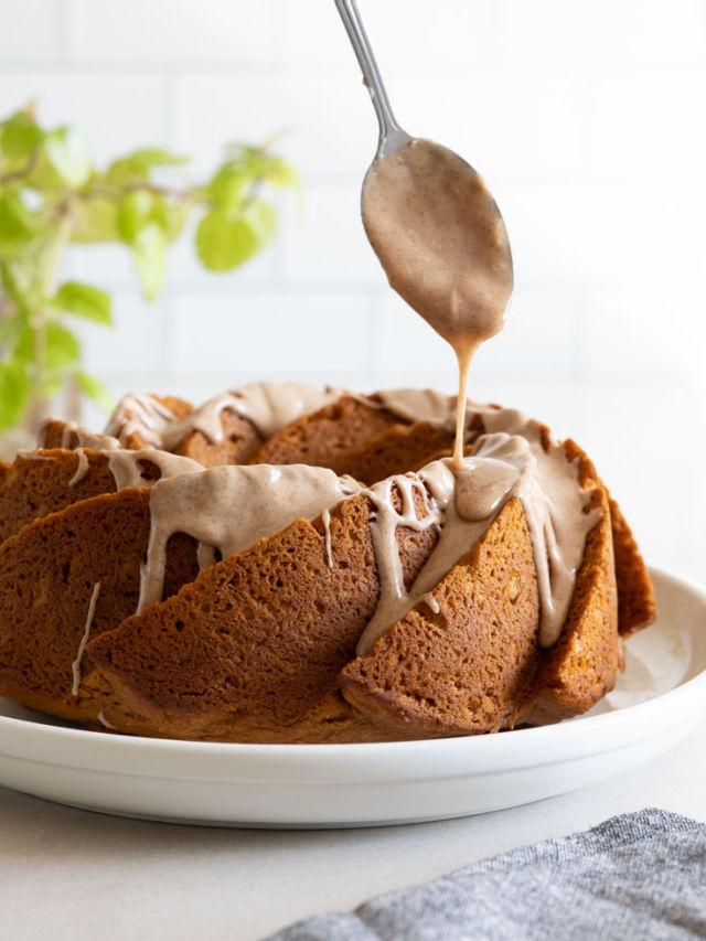 Drizzling glaze over pumpkin bundt cake