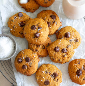 pumpkin chocolate chip cookies with milk on the side, top shot