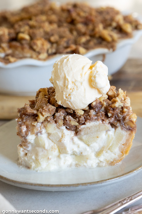 A slice of Sour Cream Apple Pie topped with a scoop of vanilla ice cream