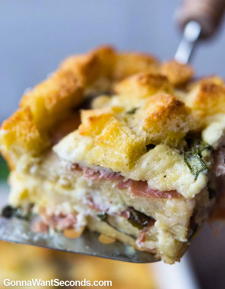 A slice of breakfast casserole, close up