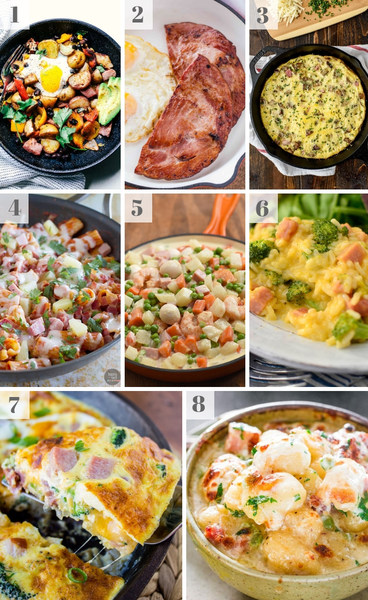 A montage of Leftover Ham Recipes