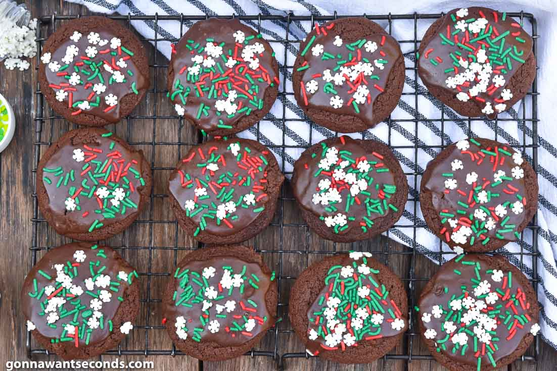 chocolate Christmas cookies with glaze, on a cooling rack