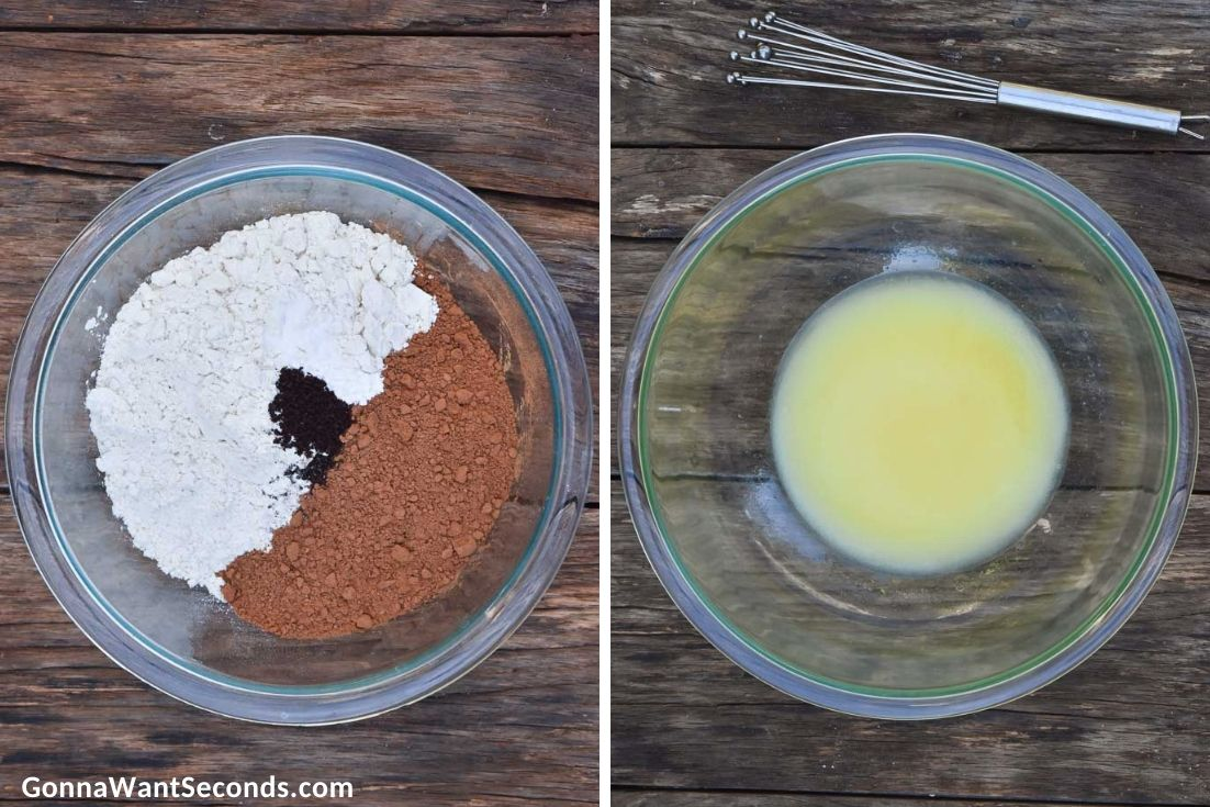 How to make chocolate Christmas cookies, prepared ingredients in a bowl