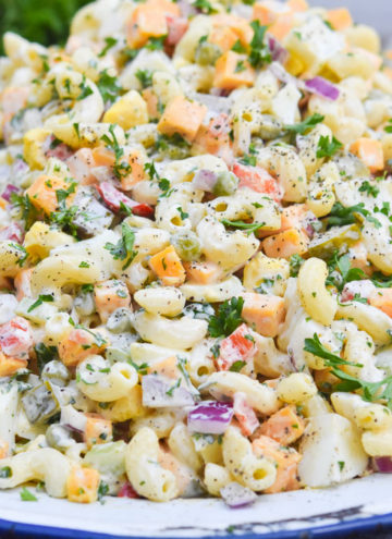 Best macaroni salad on a serving plate